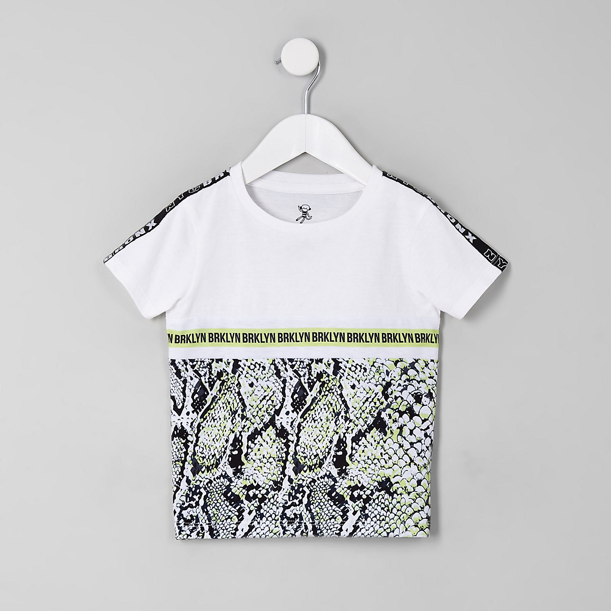 Mini boys white snake print tape T-shirt