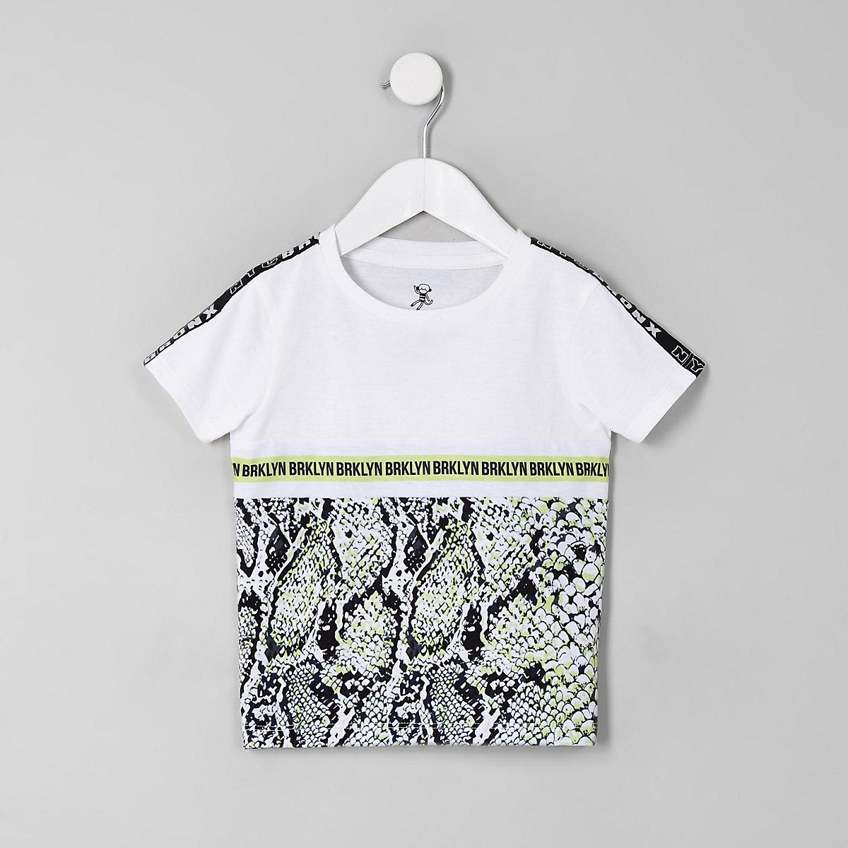 T-shirt blanc avec bande imprimé serpent mini garçon