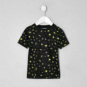 Mini boys black lime leopard print T-shirt