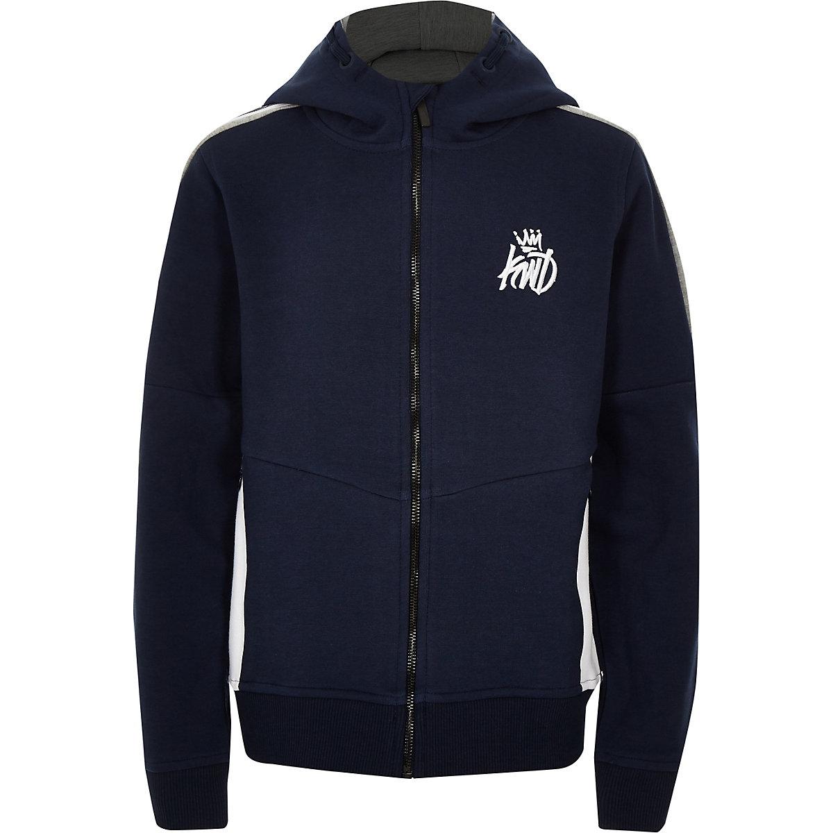 Boys navy Kings Will Dream zip up hoodie