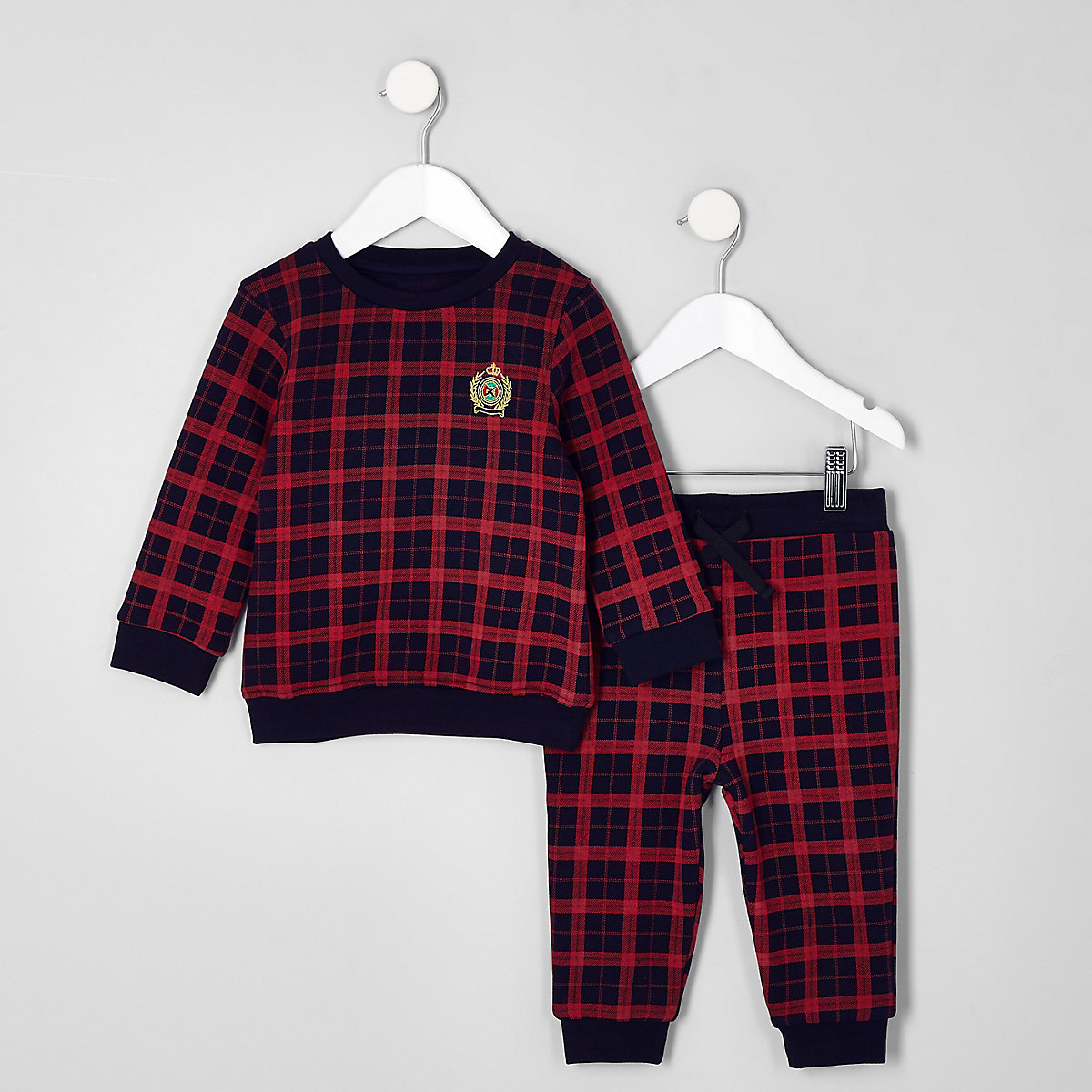 Mini boys red check sweatshirt outfit
