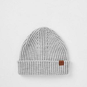 Boys grey fisherman knit beanie hat