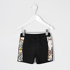 Mini boys black jogger shorts