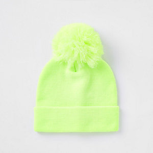 Boys lime neon beanie hat