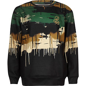 Boys black camo drip sweatshirt