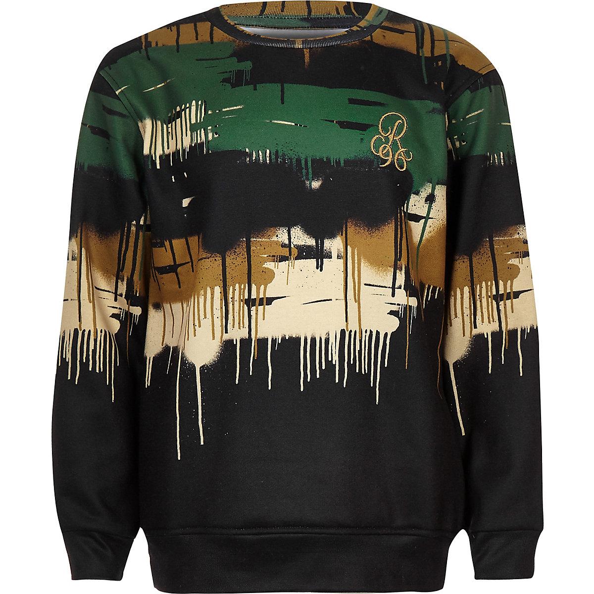 Boys black camo drip sweatshirt