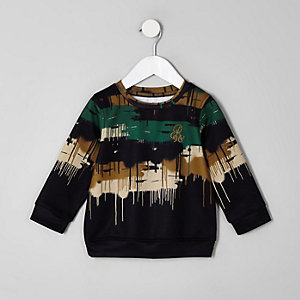 Mini boys black camo drip sweatshirt