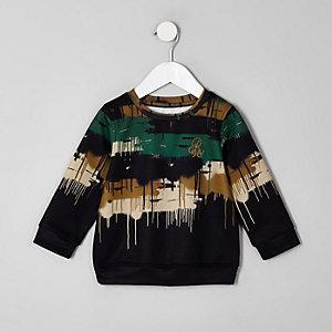 Mini boys black camo drip sweatshirt