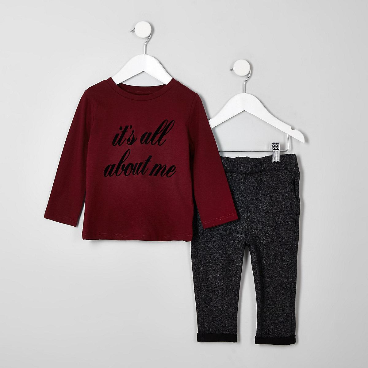 Mini boys burgundy T-shirt outfit