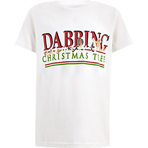 T-shirt de Noël « Dabbing » blanc pour garçon
