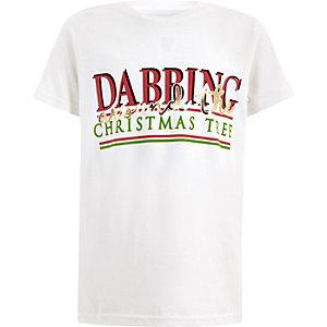 Wit T-shirt in kerststijl met 'Dabbing'-print voor jongens