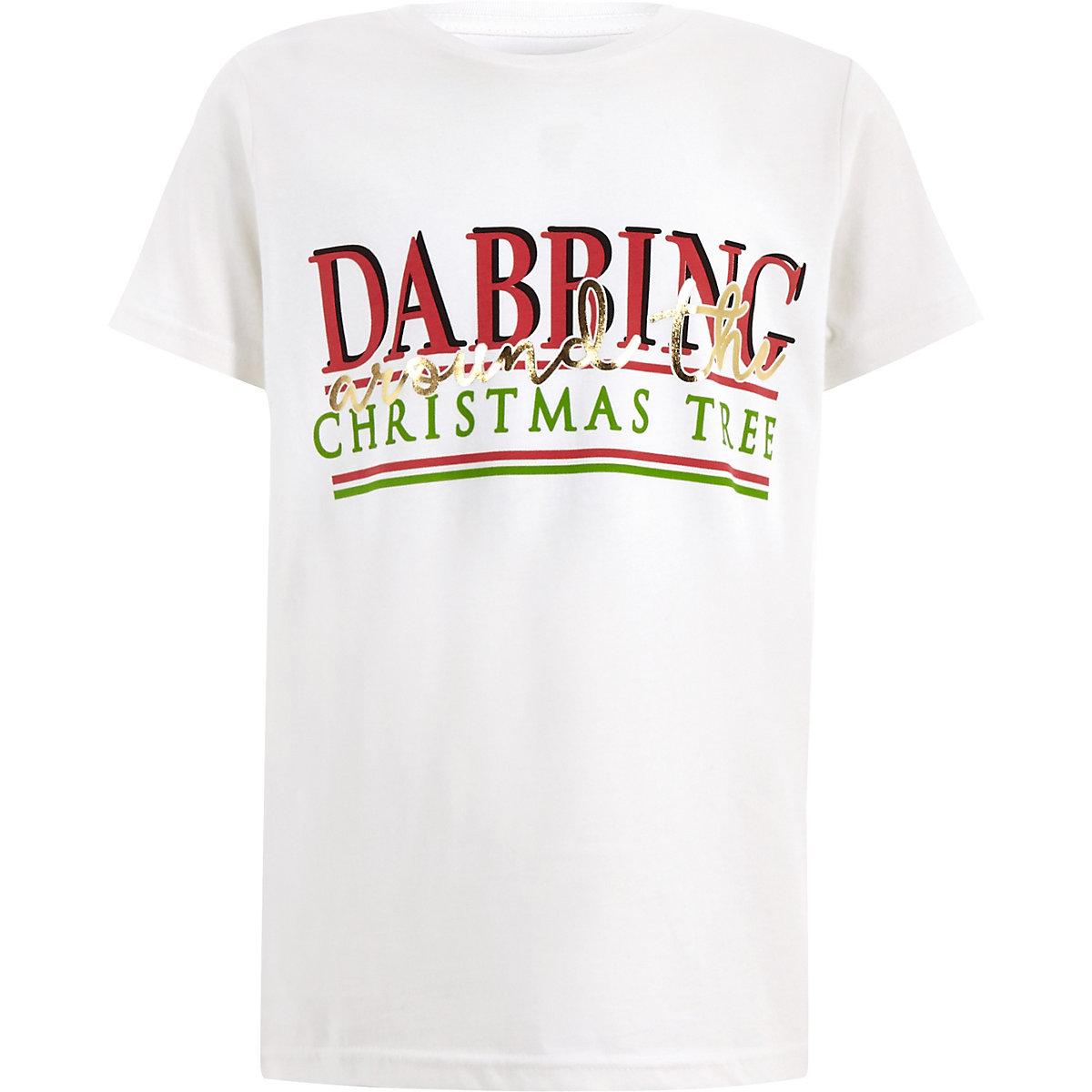 Boys white 'Dabbing' Christmas T-shirt