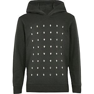 Boys khaki skull studded hoodie