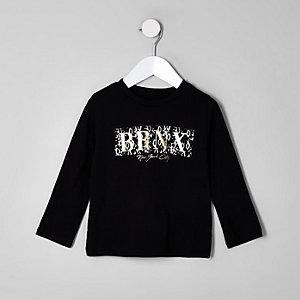 Mini boys black 'BRNX' foil print T-shirt