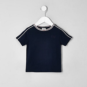 Marineblaues T-Shirt mit Paspeln