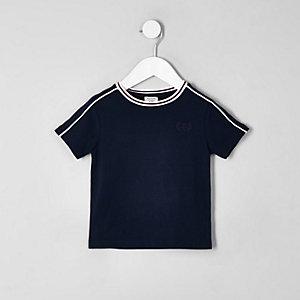 Mini - Marineblauw T-shirt met bies voor jongens
