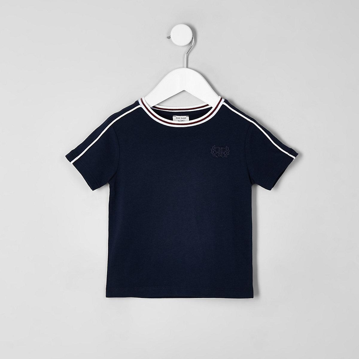 Mini boys navy piped T-shirt