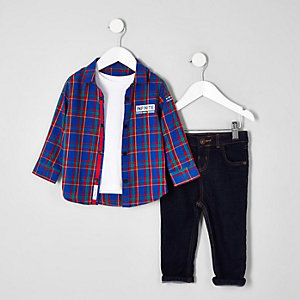 Mini boys bright blue check shirt outfit