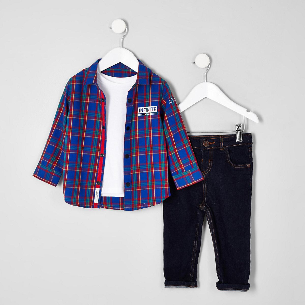 Mini boys bright blue check shirt outfit
