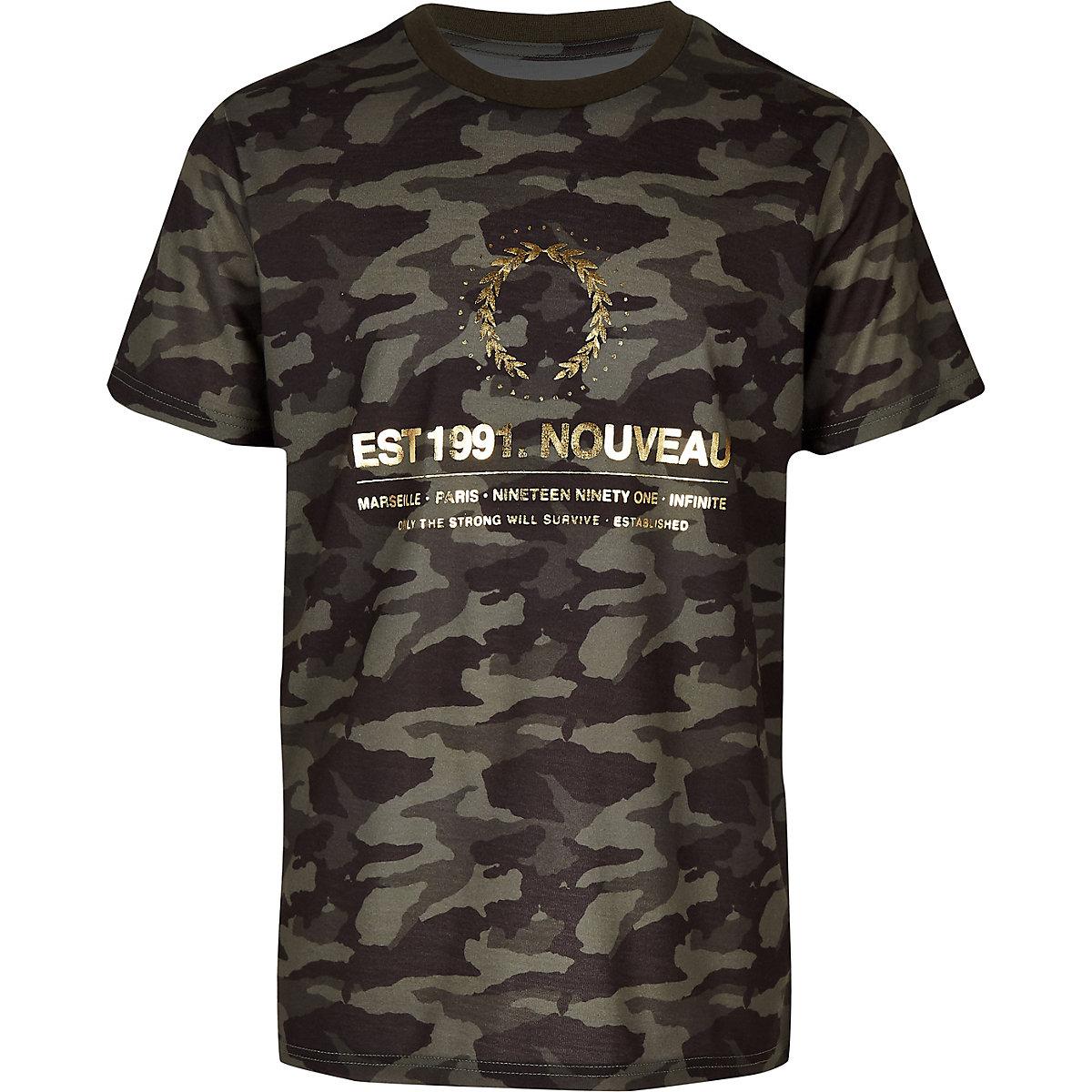 Boys khaki camo foil print T-shirt