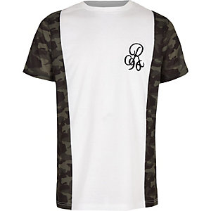 Boys R96 khaki camo trim T-shirt
