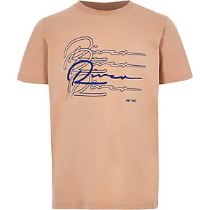 Boys coral 'River' embroidered T-shirt