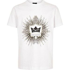 Weißes T-Shirt mit Logostickerei