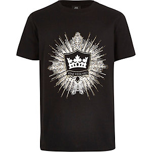 Boys black logo embellished T-shirt