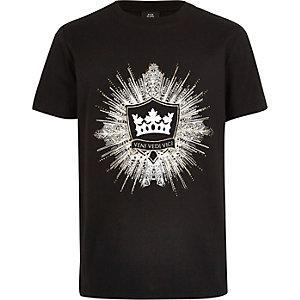T-shirt noir à logo orné pour garçon