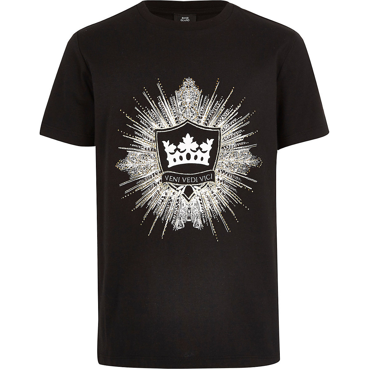 Boys black logo embellished T-shirt