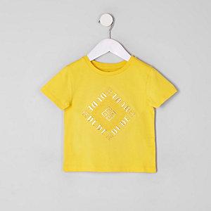 T-shirt jaune avec motif « Dude » en relief pour mini garçon
