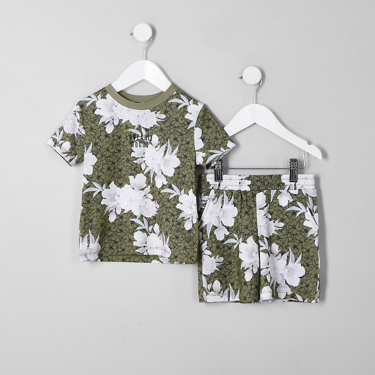 Mini boys khaki floral short outfit