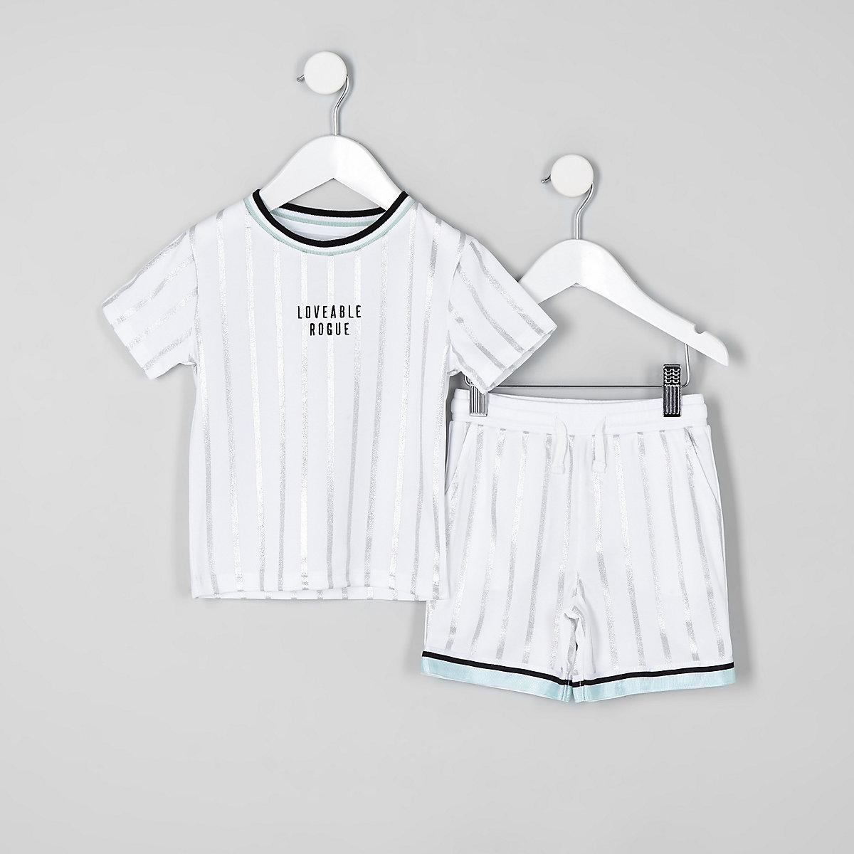 Mini boys white stripe mesh short outfit