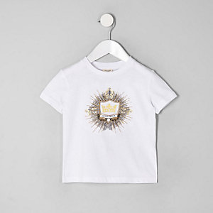 Mini boys white logo embellished T-shirt