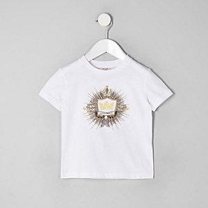 Mini - Wit verfraaid T-shirt met logo voor jongens