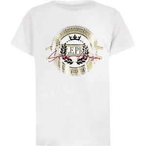 T-shirt à imprimé doré métallisé « Little prince » blanc pour garçon