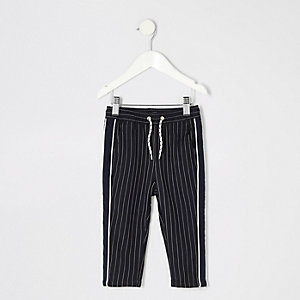 Mini boys navy pinstripe pants