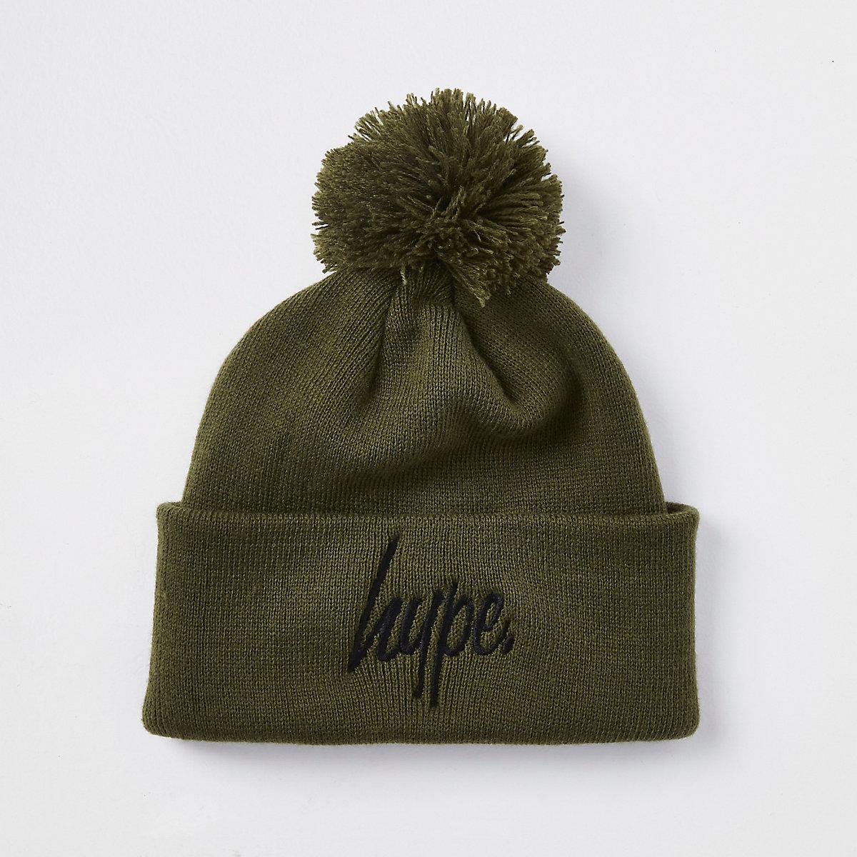 Boys Hype khaki bobble beanie hat
