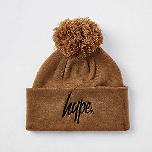 Boys Hype brown bobble beanie hat