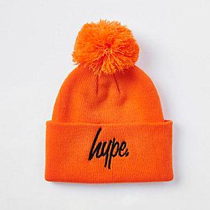 Boys Hype orange bobble beanie hat
