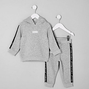 Tenue sweat à capuche gris « mini dude » mini garçon