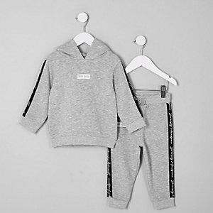 Mini - Outfit met grijze hoodie met 'Mini dude'-print voor jongens