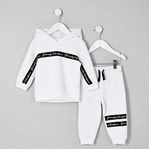 Mini - Witte hoodie outfit met 'handsome'-print voor jongens