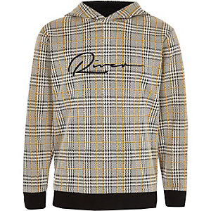 Boys brown check 'River' hoodie