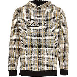 Bruine geruite hoodie met 'River'-print voor jongens