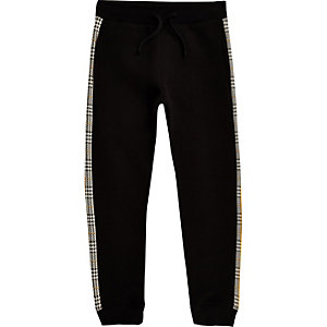 Boys black check trim joggers