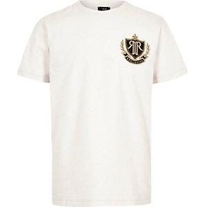 Steingraues T-Shirt mit RI-Aufnäher