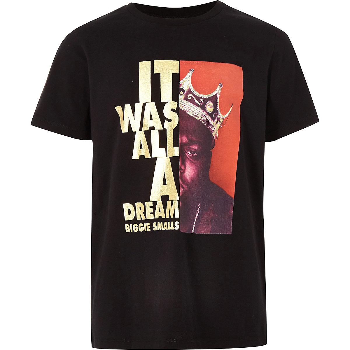 Boys black 'it was all dream' T-shirt