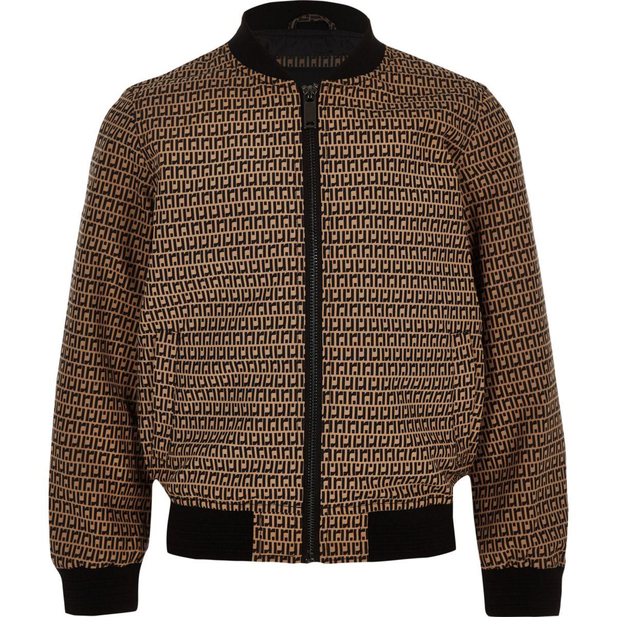 Boys brown RI bomber jacket