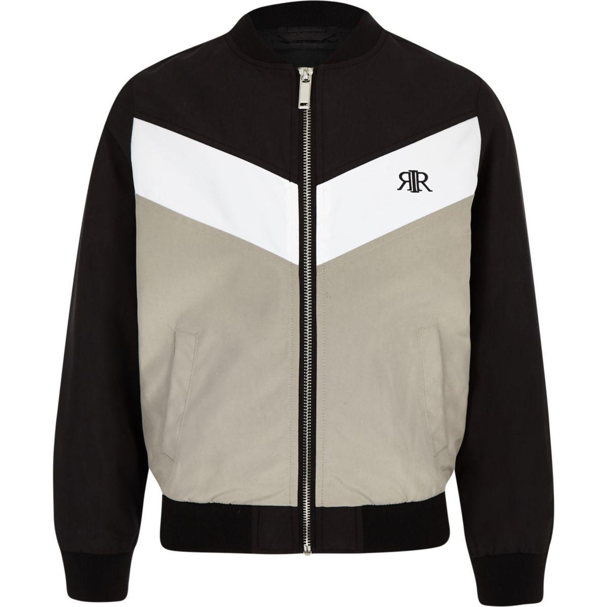 Boys black RI chevron bomber jacket